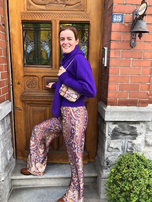 Wijdere broek met print paars