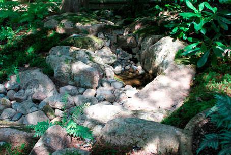 Repairing a beautiful water feature at Thuya Garden