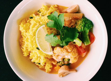 Vegan Red Curry with Turmeric Coconut Rice