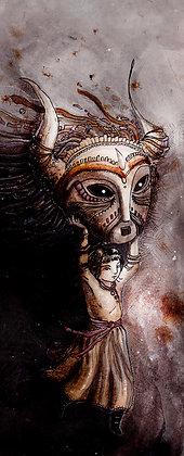 Girl carrying mask