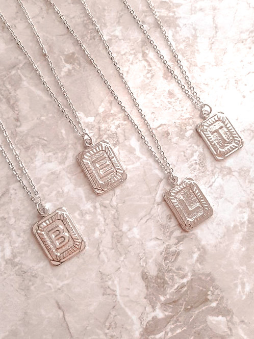 Silver Initial Card Necklace PREORDER