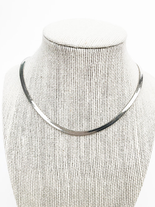 Silver Herringbone Necklace