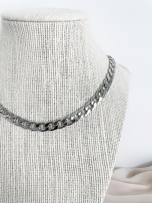 Silver Curb Chain Necklace