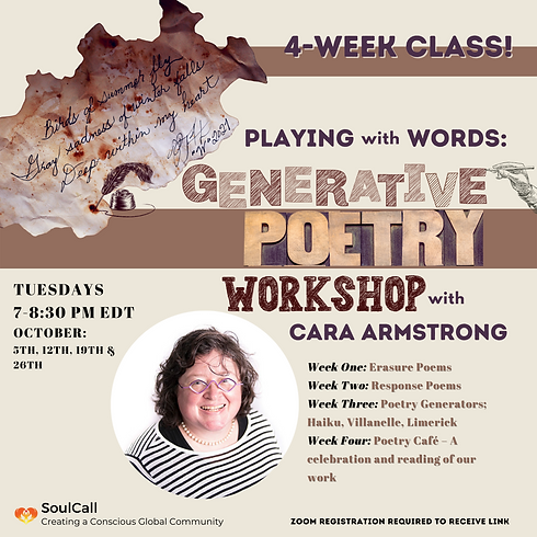 Playing with Words: Generative Poetry Workshop with Cara Armstrong