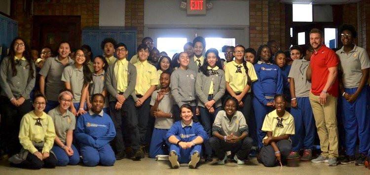 Jack Sundberg visits the St. Augustine Academy Bridgeport