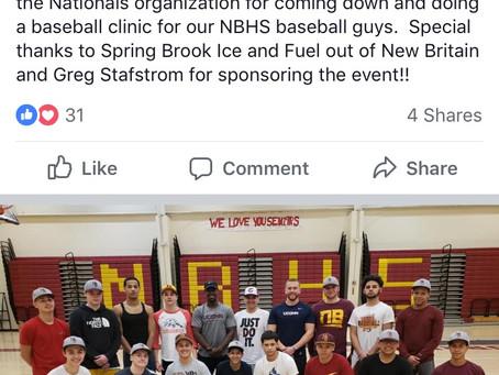 Jack Sundberg Visits New Britian High School for Baseball Clinic