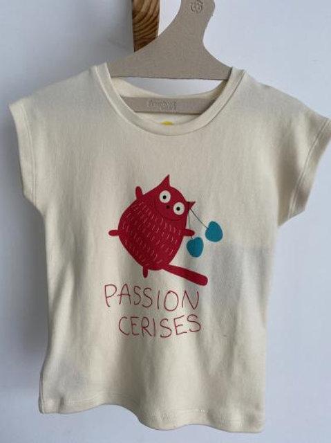 T-shirt crème passion cerises - La Queue du Chat