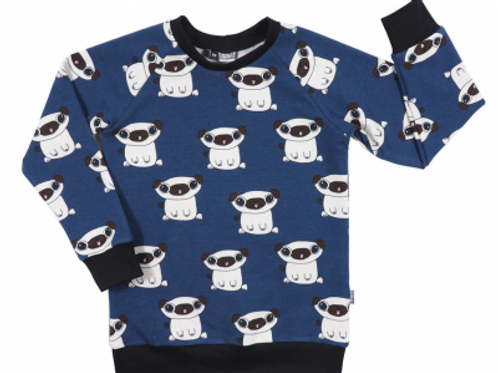 Sweat raglan Pug Blue - Kleine Baasjes Organic