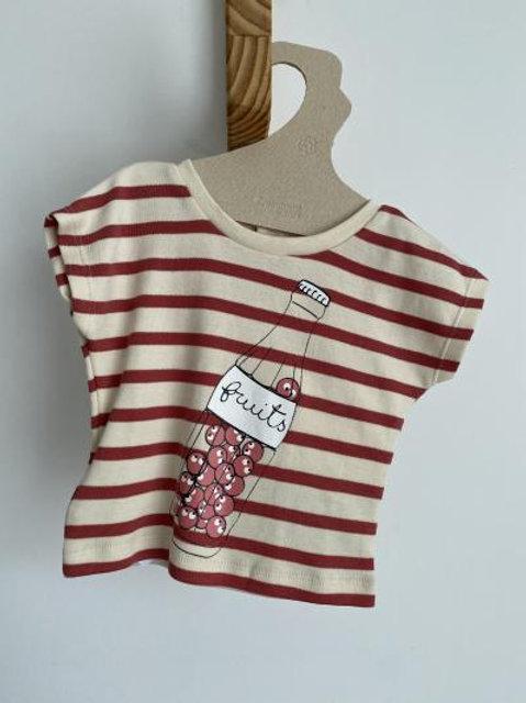 T-shirt rayé blush fruit - La Queue du Chat
