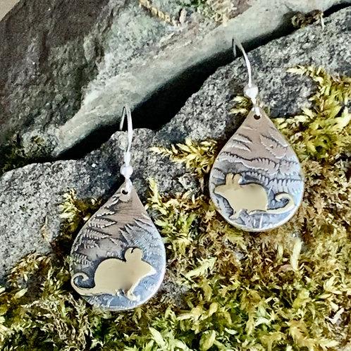 Mice Earrings with ferns
