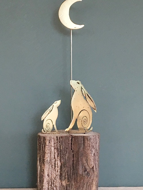 Mini sculpture - Two gazing hares and moon