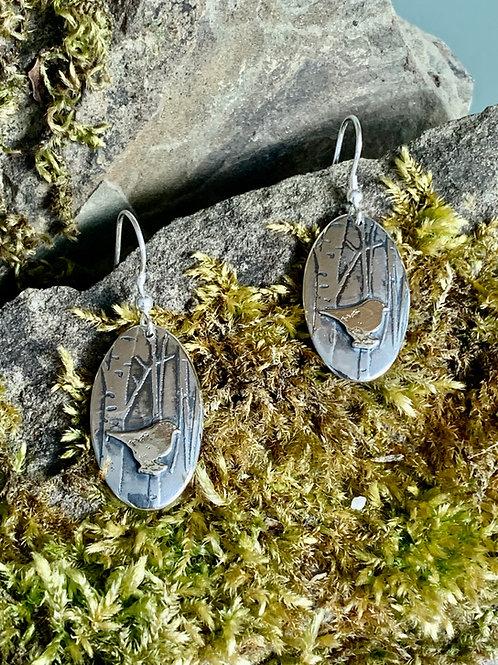 Oval bird earrings