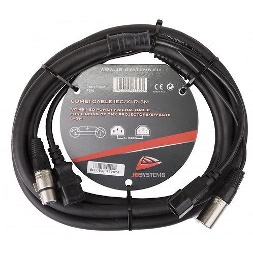 CORDON COMBINE 3M ALIMENTATION IEC + DMX XLR3 M/F COMBI CABLE IEC/XLR 3M
