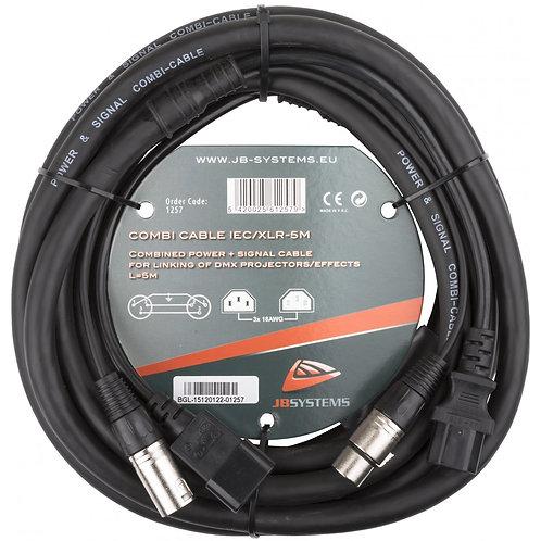 CORDON COMBINE 5M ALIMENTATION IEC + DMX XLR3 M/F COMBI CABLE IEC/XLR 3 5M