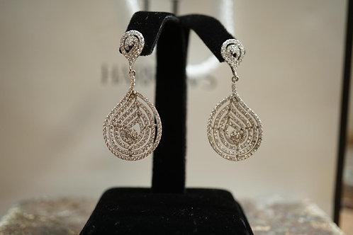 Pear CZ Stud Drop Earrings