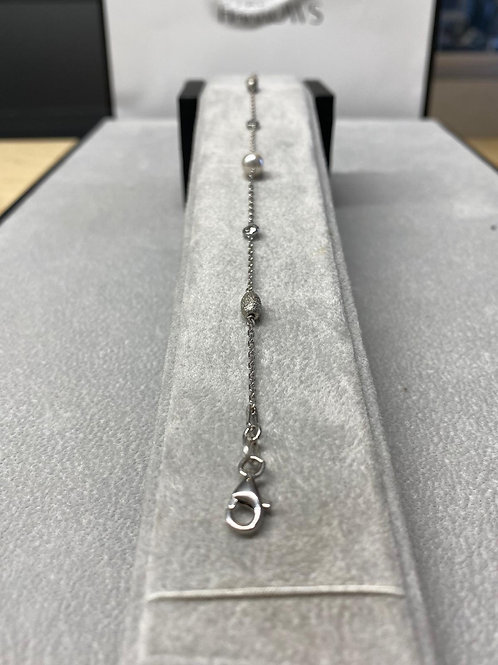 S/S Ladies Pearl & CZ Bracelet