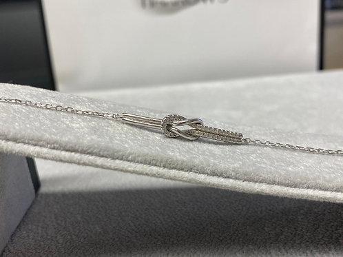 S/S Ladies CZ Knotted Bracelet