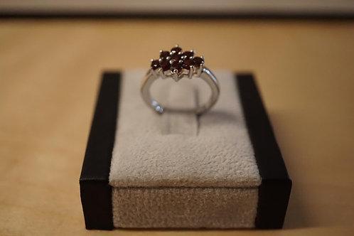 S/S Garnet Cluster Ring