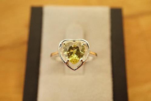 S/S Yellow Cubic Zirconia Heart