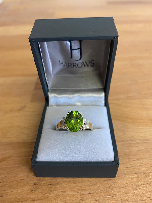 9CT Y/G Peridot & Diamond