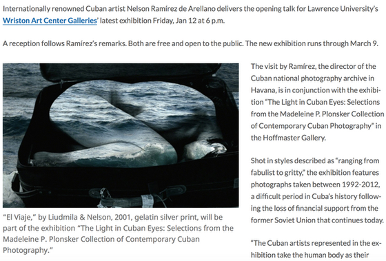 Upcoming exhibition featuring The Light in Cuban Eyes Collection on Friday, Jan 12 at the Lawrence U
