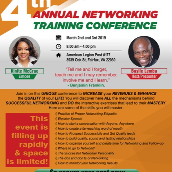 Kinite McCrae will MC the BL 4th Annual Networking Training Conference