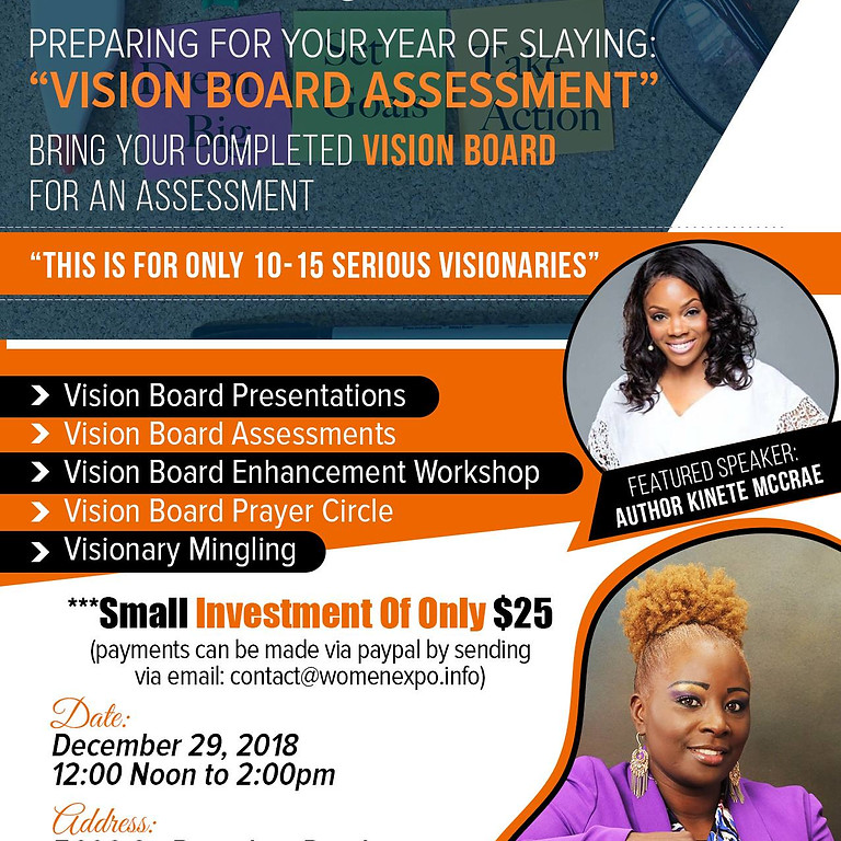 Kinite McCrae will be the Featured Speaker at: The Vision Board Assessment Party