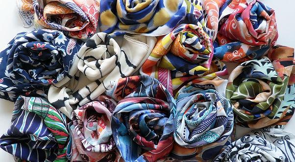 100% Chiffon Designer Silk Scarves Hand Sewn Rolled Hem