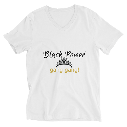 Bad & Bougee 4Real BLACK POWER Unisex Short Sleeve V-Neck T-Shirt for women