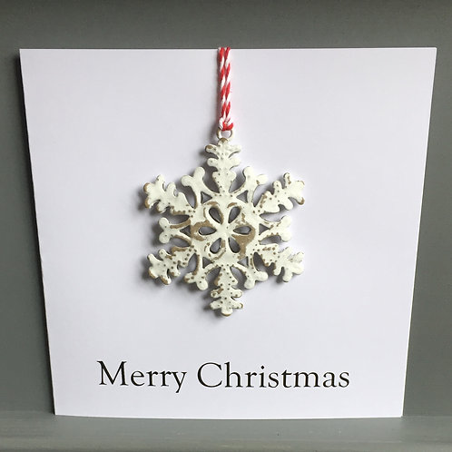 Metal snowflake card