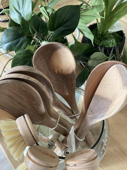 Solid wood serving spoons - pair