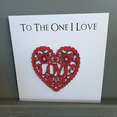 To the One I Love heart card