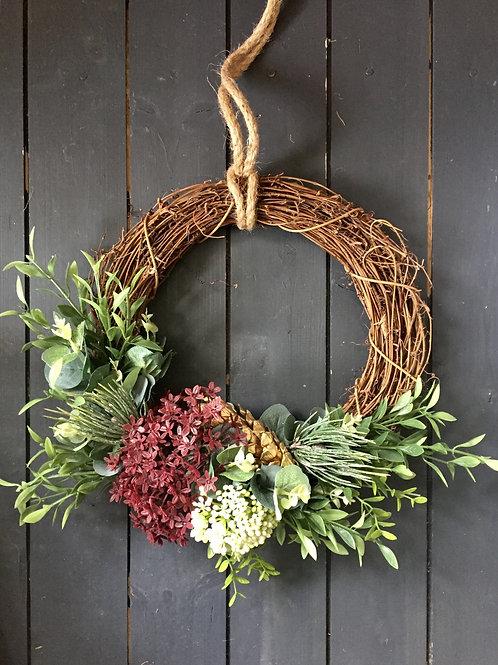 Gold cone and foliage wreath