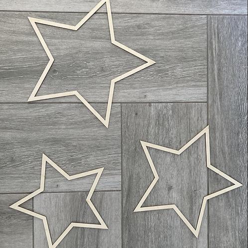 3 wooden stars