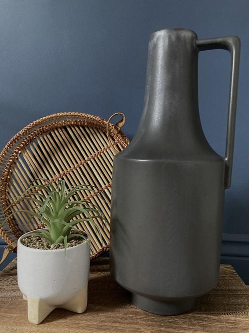 Tall charcoal narrow neck vase