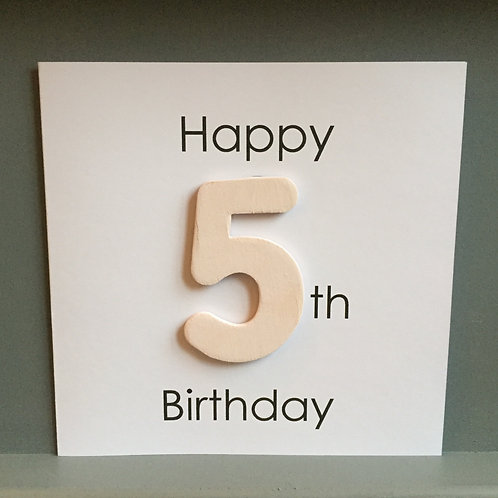 Wooden number card with plain back