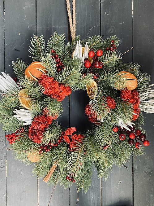 Orange and red traditional wreath
