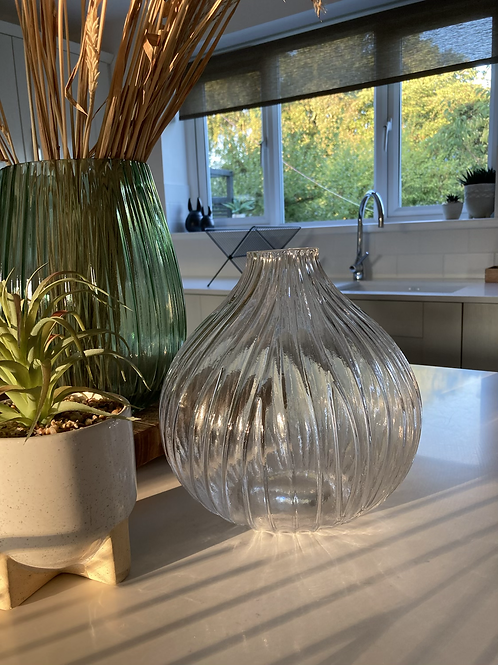 Clear glass onion vase