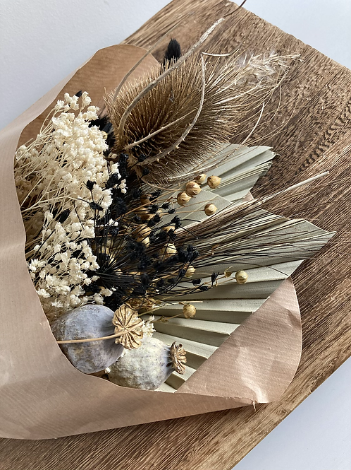 Black and natural dried flowers