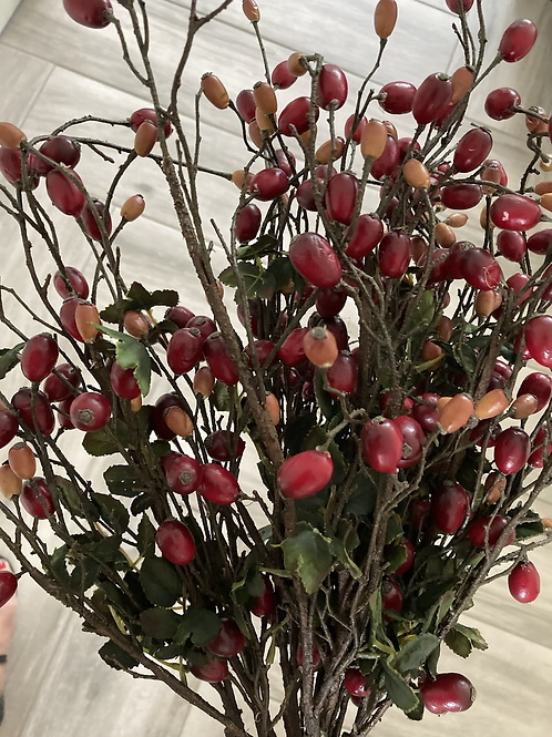 Faux Rosehip branch x2