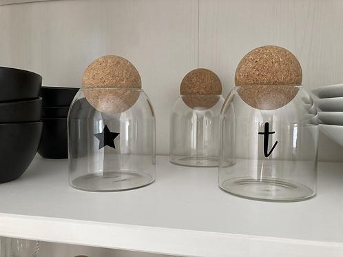 Cork ball jar- initial, star or heart