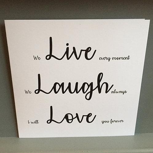 Live, Laugh, Love card