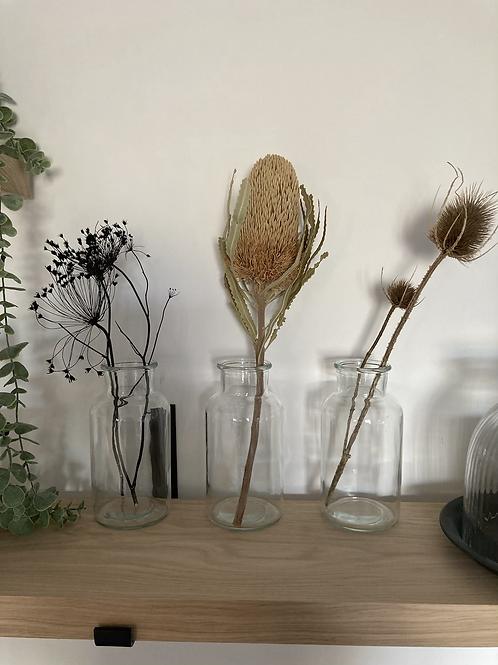 Clear glass bud vase