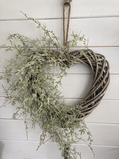 Frosted Fern Heart Wreath