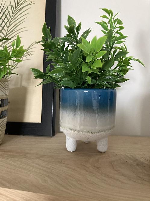 Glazed mini blue planter