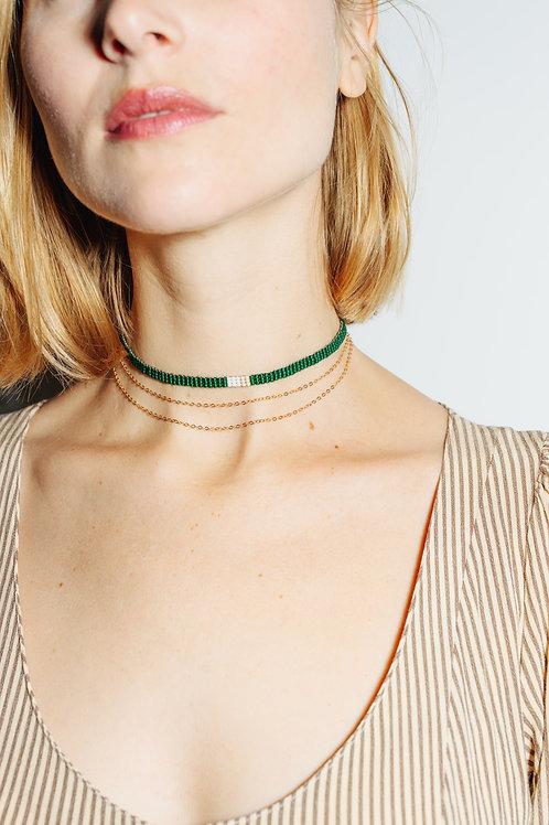 Green Choker + Delicate Chain