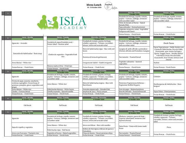 Isla Academy Menu Survey 2020 .xlsx - Oc