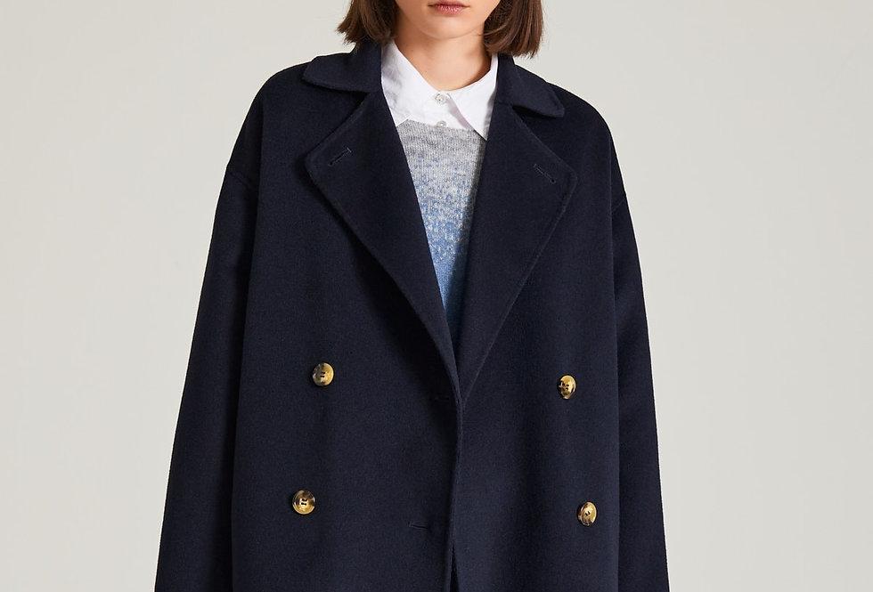 Manteau court croisé Bleu