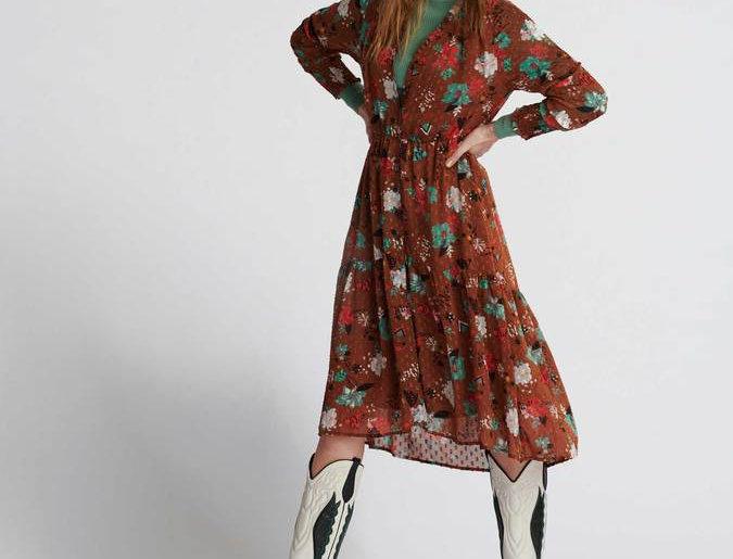Robe OLIVIA FLOWER BOUQUET BROWN