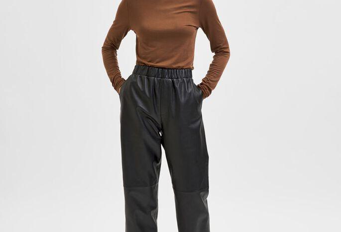 Pantalon coupe droite en Cuir
